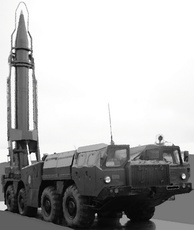 Scud Transporter Erector Launcher (TEL) with missile in upright position