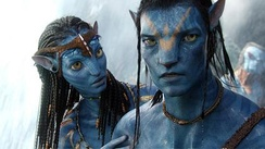 Jake's avatar and Neytiri. One of the inspirations for the look of the Na'vi came from a dream that Cameron's mother had told him about.[69]