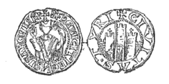 Frederick's seal, depicting him and the city of Tyre