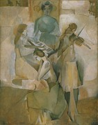 Marcel Duchamp, 1911, La sonate (Sonata), oil on canvas, 145.1 x 113.3 cm, Philadelphia Museum of Art. Exhibited at Exposició d'Art Cubista, Barcelona, Galeries Dalmau, Barcelona, 1912 (reproduced in catalogue)