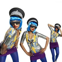 A woman appears in three different poses wearing a police hat, bright neon blue short hair, large sunglasses, a gold chain, yellow and silver top, purple skirt and dark blue leggings. Her nails' are couloured in a light blue shade.