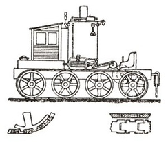 The draft of Blinov's steam-powered continuous track tractor