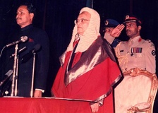 Presidential Oath Taking Ceremony after 1986 elections, the Chief Justice and Military Secretary (1984-1989) Brigadier ABM Elias is also seen