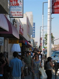 Pedestrians on the Pacific Boulevard shopping district
