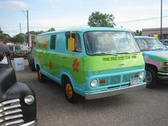 A 1968 Chevrolet Sportvan 108 painted to look like The Mystery Machine from Scooby-Doo. A number of Scooby fans have decorated vans in this fashion.