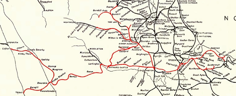 The former S&DR, shown in red, as part of the larger NER network of 1904