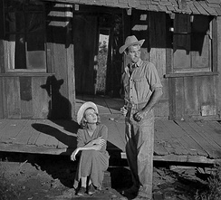 Cinematographer Lucien Andriot used low-level soundstage lighting to create dramatic shadows for the Tuckers' arrival at the farm.