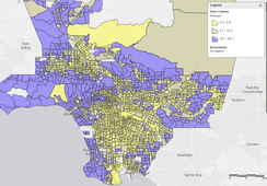 Percent of households with incomes above $150k across LA County census tracts.