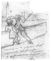 Pushkin's sketch representing himself and Onegin on Palace Quay