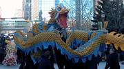 Like Chinese worldwide, the people in Calgary, Alberta's Chinatown perform dragon dances for good luck