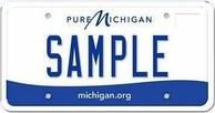 "Standard Michigan plate, with the term ""SAMPLE"" used as a fictitious example plate number"