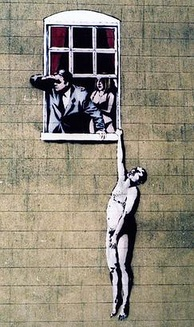 A painting on a building showing a naked man hanging by one hand from a window sill. A man in a suit looks out of the window, shading his eyes with his right hand, behind him stands a woman in her underwear.