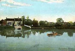 Farndon ferry in 1907 showing the white frontage of the Britannia Inn