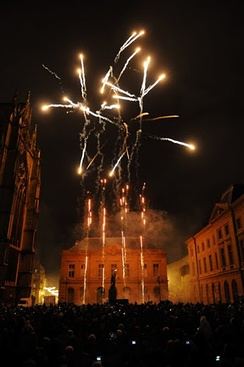Fireworks on the town square for the celebrations of Saint Nicholas, the Lorraine's patron saint