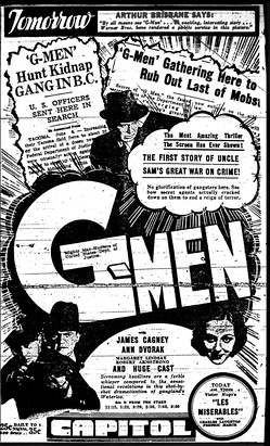 A newspaper ad for the movie G Men, which Hombres G named themselves after.