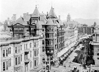 Ginger bread and turrets:  looking north on Spring Street toward Pancake Hill, 1900.