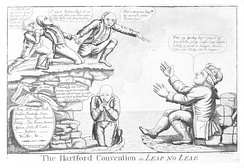 A political caricature of delegates from the Hartford Convention deciding whether to leap into the hands of the British, December 1814. The convention led to widespread fears that the New England states might attempt to secede from the United States.