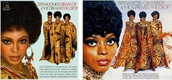 The album cover seen in the 2006 film Dreamgirls, left, strongly resembles the 1969 album cover for Diana Ross & the Supremes' Cream of the Crop, right.
