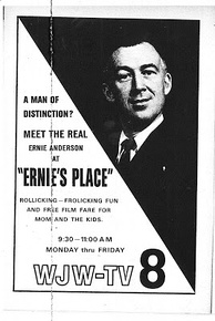 Anderson's father, Ernie Anderson, in a 1961 advertisement