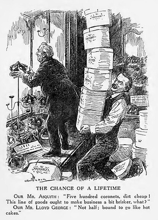 Punch 1911 cartoon shows Asquith and Lloyd George preparing coronets for 500 new peers to threaten takeover of House of Lords