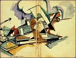 André Mare's Cubist sketch, c. 1917, of a 280 calibre gun illustrates the interplay of art and war, as artists like Mare contributed their skills as wartime camoufleurs.