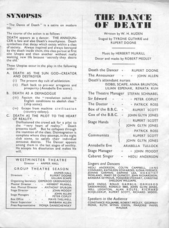 Programme of a Group Theatre production of The Dance of Death, with unsigned synopsis by Auden