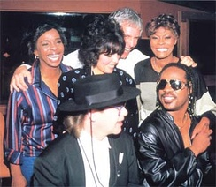 "Clockwise from left, Gladys Knight, Carole Bayer-Sager, Burt Bacharach, Dionne Warwick, Stevie Wonder, and Elton John, ""That's What Friends Are For"", 1985"