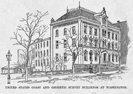 United States Coast and Geodetic Survey headquarters on New Jersey Avenue in Washington, D.C., from Harper's Weekly, October 1888.