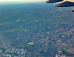 An aerial view of Greater Western Sydney: Smithfield (bottom) to Liverpool (top-right).