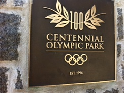 The marker at the entrance to Centennial Park in downtown Atlanta