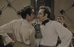 Power and Basil Rathbone in their duelling scene from The Mark of Zorro (1940) (Note: The movie was shot in black and white; this is the colorized version.)