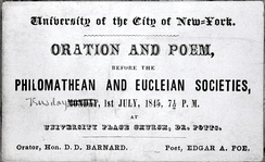Eucleian and Philomathean joint meeting, Edgar Allan Poe as lecturer 1840s