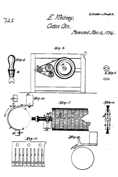 Cotton Gin Patent. It shows sawtooth gin blades, which were not part of Whitney's original patent.