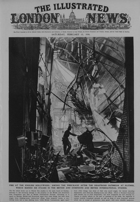 1936. Fire destroys three stages of British and Dominion Studios. From the Illustrated London News 15 February 1936