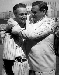 The Yankee dynamic duo reunited – Lou Gehrig and Babe Ruth at Yankee Stadium on July 4, 1939, shortly after Gehrig's retirement. Within a decade, a similar testimonial would honor Ruth, who died from cancer in 1948.
