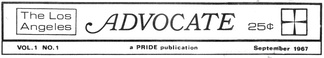 Masthead from The Advocate, volume 1, issue 1