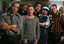 "The main characters of Entourage. From left to right: Ari Gold (Jeremy Piven), Eric ""E"" Murphy (Kevin Connolly), Vincent ""Vince"" Chase (Adrian Grenier), Turtle (Jerry Ferrara) and Johnny ""Drama"" Chase (Kevin Dillon)."