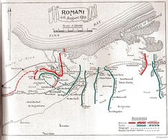 Positions from 19 July to 9 August. British lines in red and Ottoman advance and attacks on 3 and 4 August in green