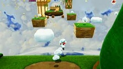 Cloud Mario is one of the new power-ups in the game. Mario is using the power-up, creating temporary platforms in midair to get to out-of-reach places.