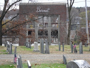 Bernat Mill, post 2007 fire, November 11, 2009, at Uxbridge, Massachusetts