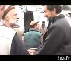 Ahmad Shah Massoud (right) with Pashtun anti-Taliban leader and later Vice-President of the Islamic Republic of Afghanistan Haji Abdul Qadir