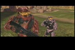 A scene from Red vs. Blue season 4, made using the Halo 2 engine