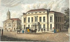 The Assembly Rooms and Trinity Church in Halifax from A Complete History of the County of York by Thomas Allen (1828–30)