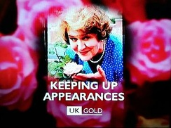 A holding slide for the television programme Keeping Up Appearances which demonstrates the 1997-1999 corporate style