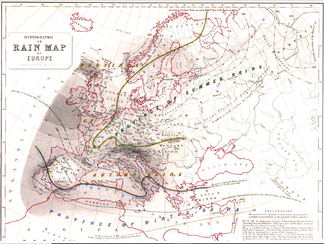 "This ""Hyetographic or Rain Map of Europe"" was also published in 1848 as part of ""The Physical Atlas""."