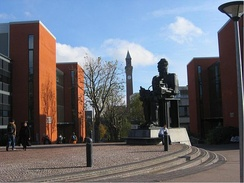 The university's Learning Centre (left), School of Computer Science (right) and Sir Eduardo Paolozzi's Faraday sculpture
