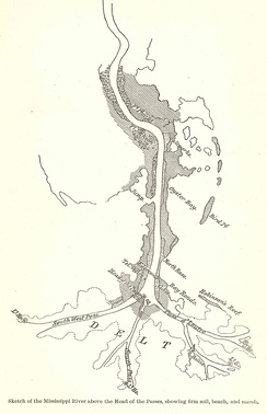 Sketch map of the Mississippi River and the Head of Passes of the Louisiana delta[3]