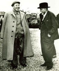 Du Bois standing outdoors, talking with Mao Tse Tung