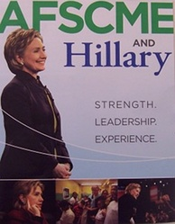December 2007 poster showing the endorsement of Clinton by the American Federation of State, County and Municipal Employees.