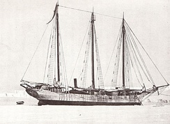 The Japanese Antarctic Expedition's ship Kainan Maru in the Bay of Whales, January 1912